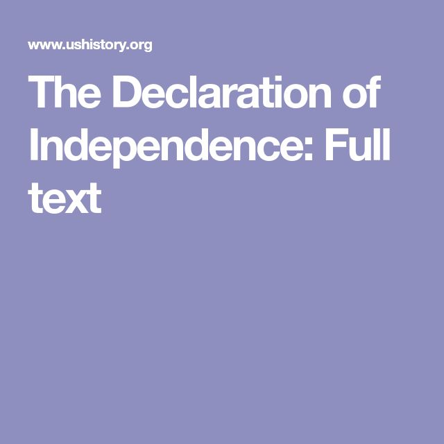 The Declaration of Independence: Full text