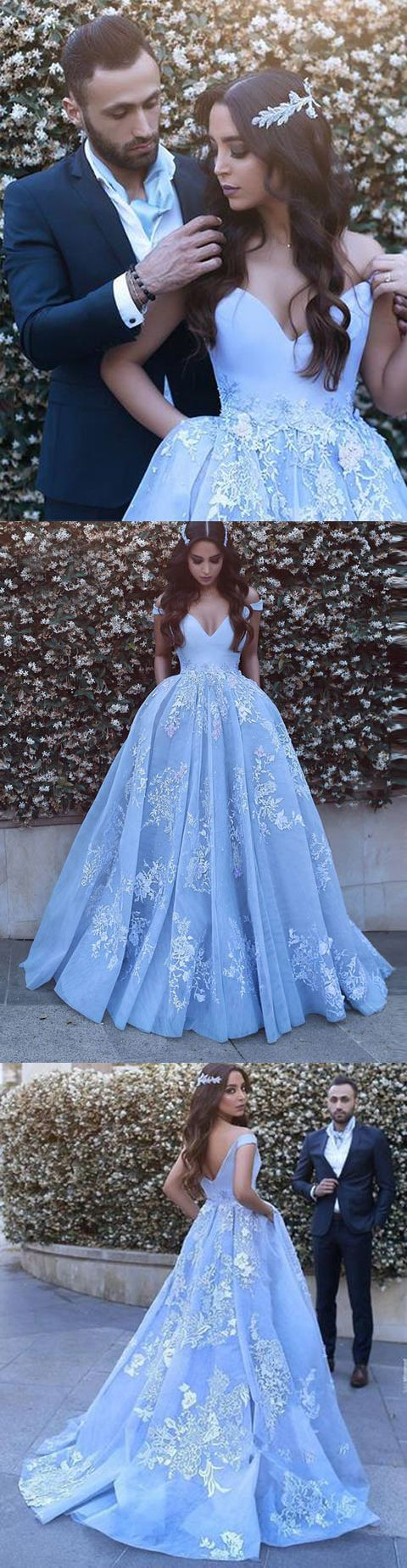 Could SOOOOOOO wear.this as a wedding dress. A-LINE PROM DRESS OFF-THE-SHOULDER PROM DRESSES,EVENING DRESS WITH APPLIQUES