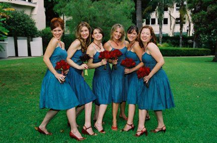 Flowers with Oasis colored bridesmaid dresses from Davids Bridal ...
