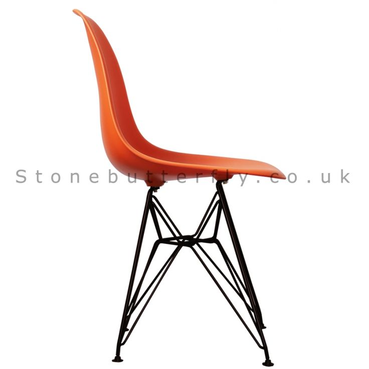Charles Ray Eames Style DSR Side Chair Black Legs - Orange