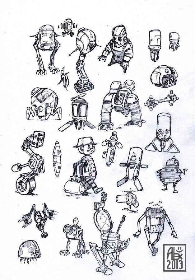 Croquis de robots / Sketches of robots
