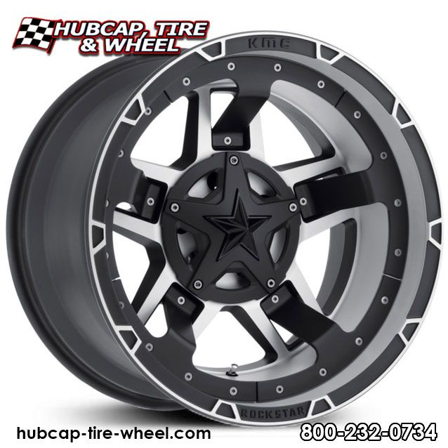 KMC XD Series Rockstar 3 XD827 Black Machined w/ Black Midspoke Inserts & Black Star Center Cap Wheels Rims
