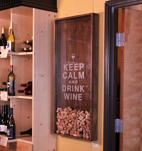 18x45 Wine Cork Holder Wall Decor Art - Keep Calm & Drink Wine