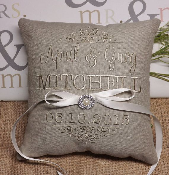 Ring Bearer Pillow embroidered ring bearer by ElegantThreadsEtc