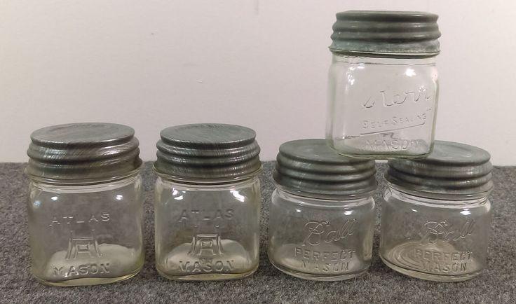 Vintage Lot/5 Clear Half-Pint Canning Mason Jars Ball Atlas Kerr w/Zinc Lids 1/2