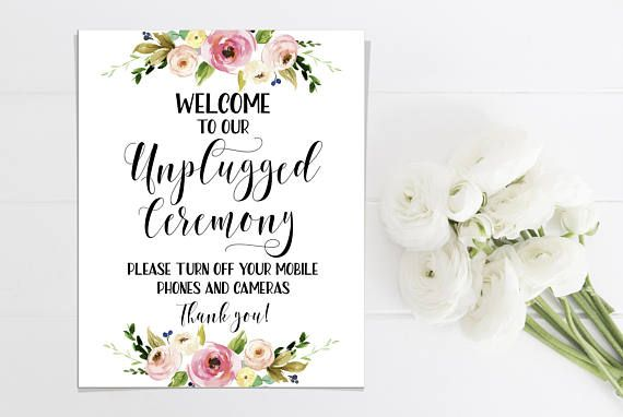 Wedding unplugged ceremony sign  No cell phone sign Outdoor