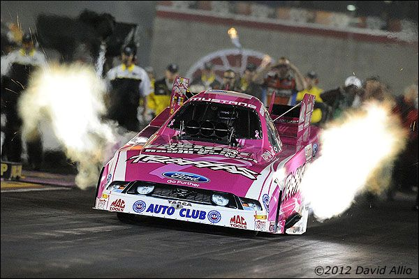 Courtney Force (746 FC) John Force Racing Ford Mustang was the third quickest NHRA Funny Car after the second round of qualifying for the 12th Annual Big O Tires Nationals NHRA drag race on The Strip at Las Vegas Motor Speedway in Las Vegas, Nevada.