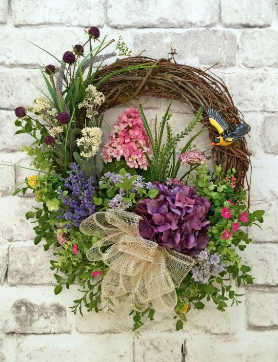 Spring Door Wreath Ideas Part - 25: Floral Spring Wreath, Summer Wreath For Door, Silk Floral Wreath, Grapevine  Wreath,
