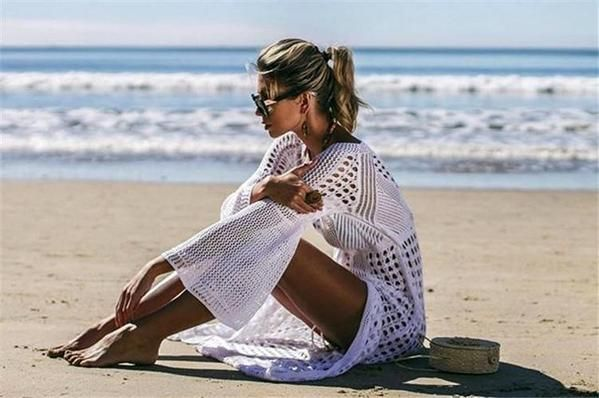 White sexy empire hollow beach cover-ups dress 4