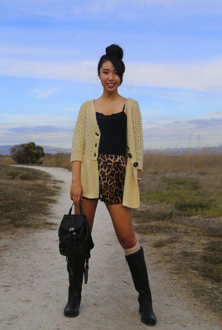 Ally Gong Leopard Print Ootd Style Fashion Fall Asian Japanese Hair Bun Cute Fun