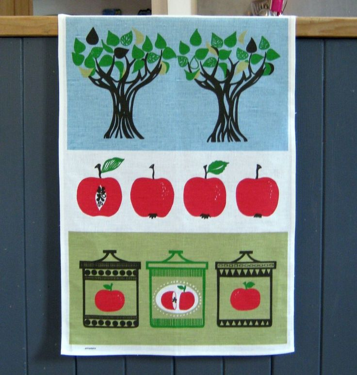 scandinavian tea towel 50s vtg design fabric Apple retro DIY kitchen picture #Almedahls