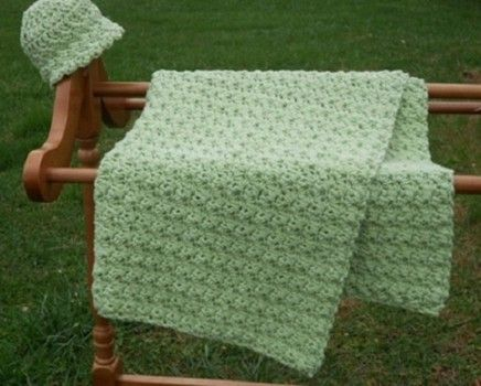 Done in a Jiffy baby blanket to crochet free really easy pattern.  Uses a large hook so grows quickly. I'm going to do small versions of this for my local NICU