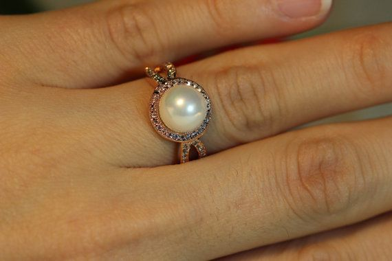 Rose Gold Filled Ring, Swarovski Pearl Ring, Promise Ring, Engagement Ring,Cubic Zirconia Halo on Etsy, $52.31