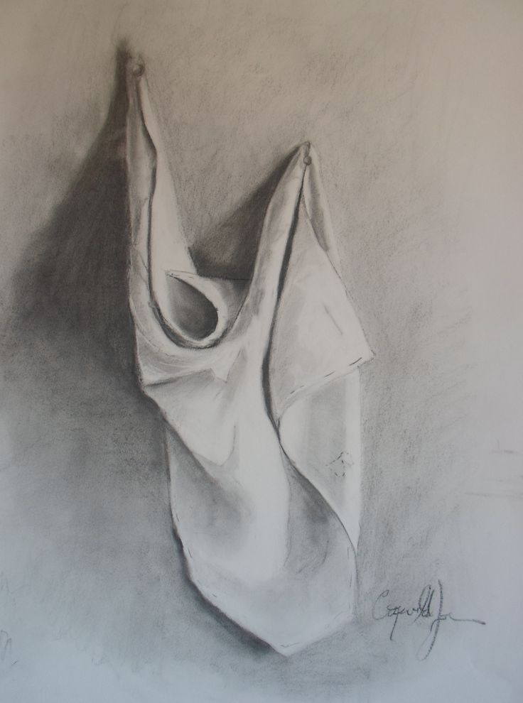 Drapery study I* charcoal on paper 50x70 cm by me