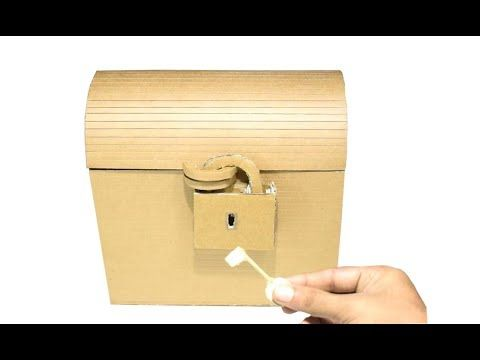 How To Make Treasure Chest With A Lock Using Cardboard You