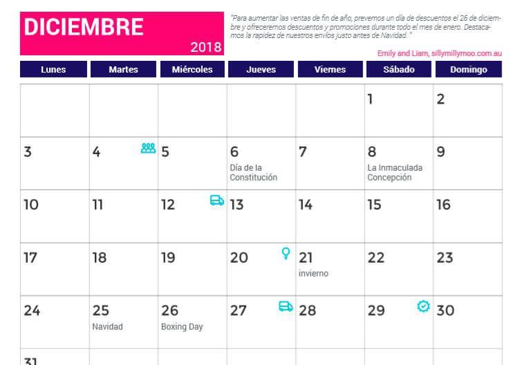 Calendario Diciembre 2018 Argentina.Calendario Diciembre 2018 Con Festivos Calendario