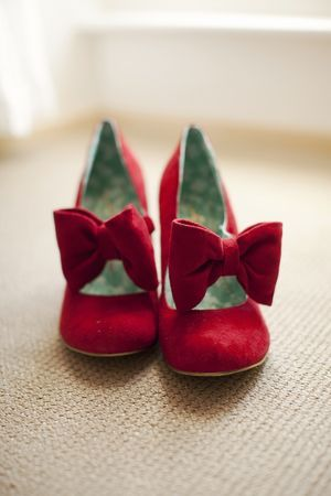 Red velvet Wedding Shoes with bow