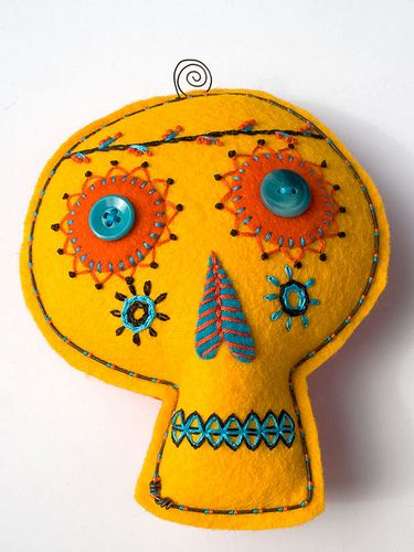 stuffed felt and wire skull