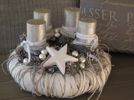 Grosser Adventskranz Winterzauber Weiss Wiederverwendbar Baumscheiben Deko Weihnachten Weihnachten Dekoration Basteln Weihnachten