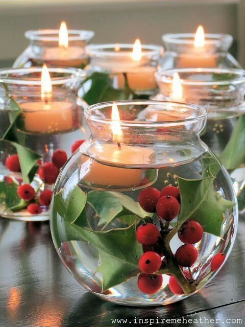 using water goblets or tall glasses...the greens sink to the bottom and the tea lights float. Can be varied for many occasions/holidays
