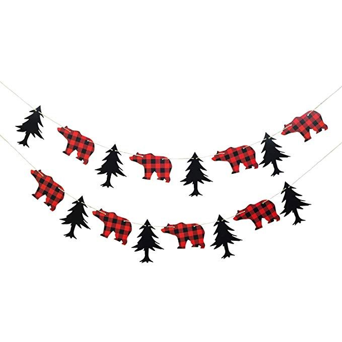 Lumberjack Theme Banner Garland Party Supplies for Kid Birthday /& Baby Shower Party Decoration with Hat