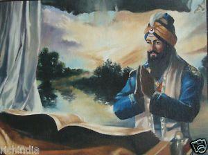 Sikh Guru Granth Sahib Painting Handmade Punjab Sikhism Religion Canvas Oil Art