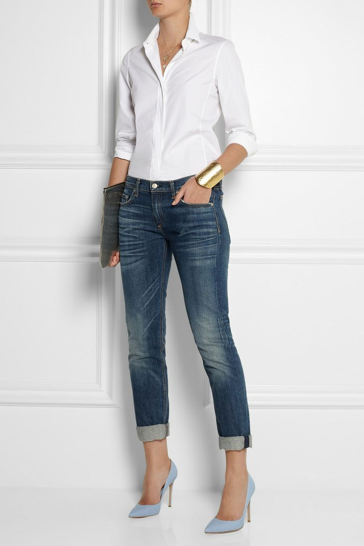my last-season (90% off at Holts!) blue suede pumps with jeans and a white shirt.