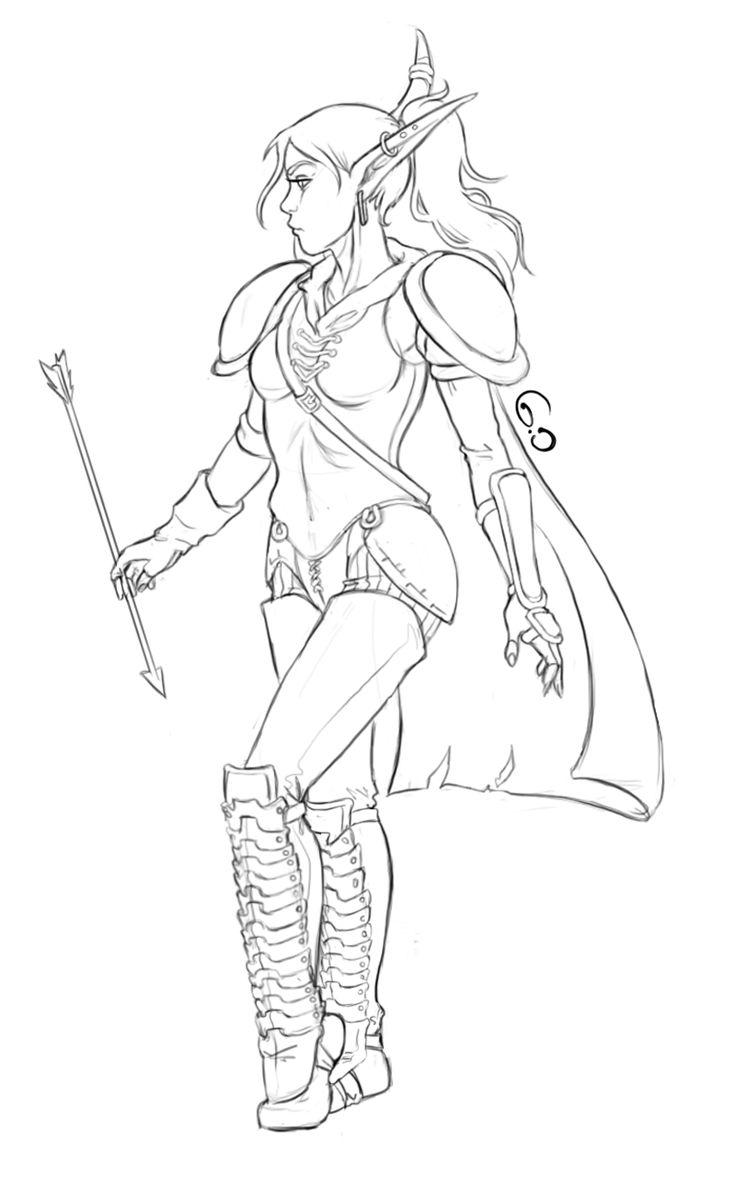 Coloring book pictures of elves - Goldie Blood Elf Hunter World Of Warcraft Https Www Facebook