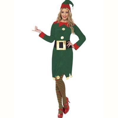 Santa's Helper Elf Dress with Belt Hat Christmas Fancy Dress