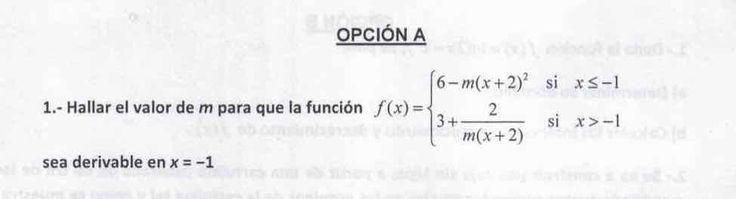 Ejercicio propuesto en examen pau de Canarias. Matemática. Julio 2015-2016. Ejercicio 1A. Continuidad, derivabilidad y representación de funciones. Límites.