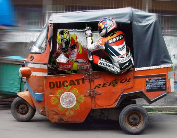 "antonia19beatrice: "" Funny picture of Daniel Pedrosa and Valentino Rossi ride on Indonesia traditional public transportation called bajaj. """