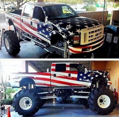Patriotic Ford Mega Mud Truck