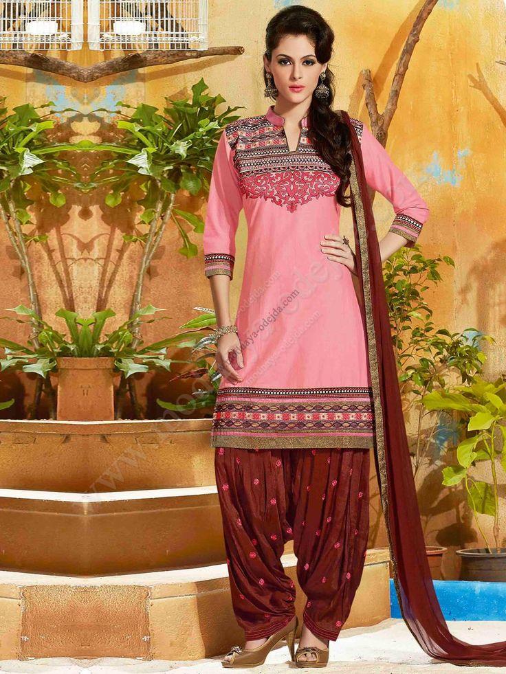 Розовый камис (камиз)   коричневые брюки фасона патиала   дупатта