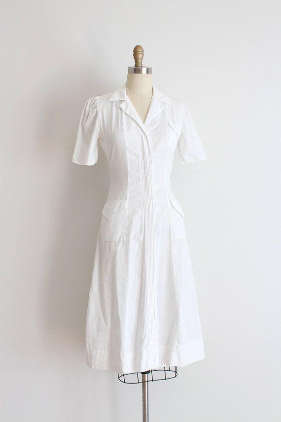 vintage 1930s nurse dress // 30s white nurse uniform by TrunkofDresses