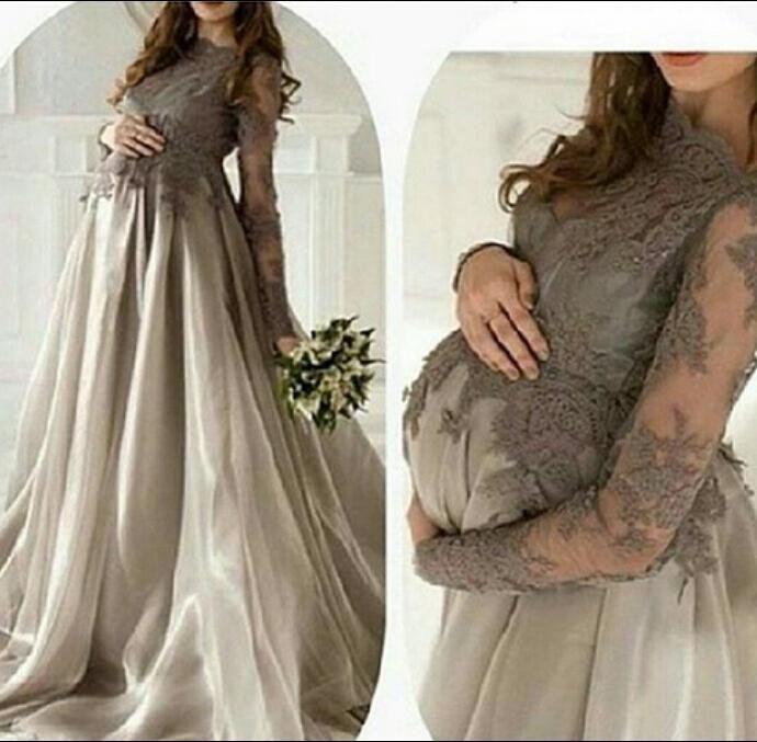 2016 Elegant Long Sleeve Lace Evening Dresses Pageant Dress Applique Gray Long Formal Dresses Party Prom Gowns Plus Size Chic