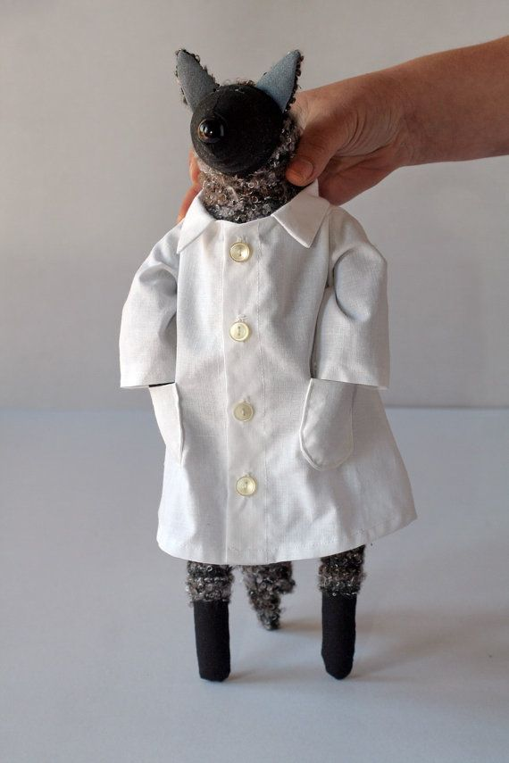 Dr. Wolf stuffed animal toy for children by andreavida on Etsy