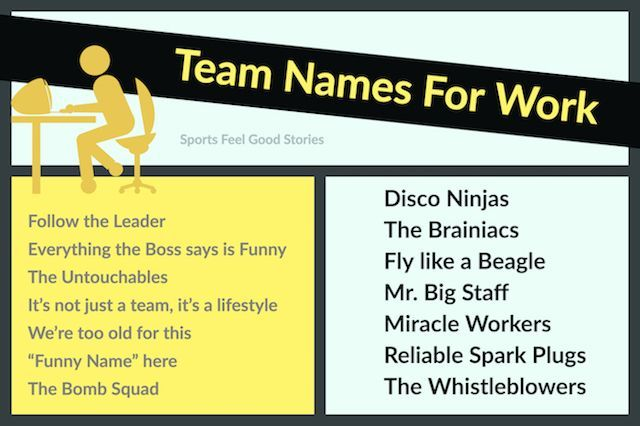 Funny Team Names For Work Sports Feel Good Stories Team Names Best Team Names Fun Team Names