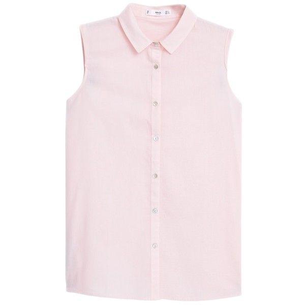 Mango Sleeveless Cotton Shirt ($16) ❤ liked on Polyvore featuring tops, shirts, pastel pink, no sleeve shirts, cotton collared shirt, pink sleeveless shirt, sleeve shirt and cotton shirts