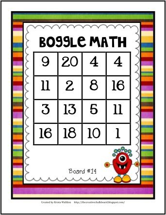 BOggle MATH---YES!  I'm adding this to my Math Facts Center!!! Turn the Laminator ON!!! Thanks, Marie at Hands-on-Teacher!