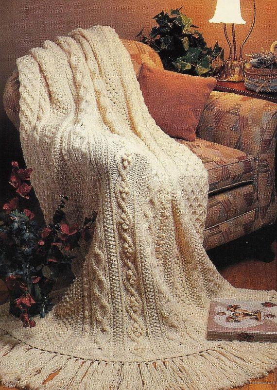 Aran Fisherman Afghan Pattern Knit Vintage Pattern