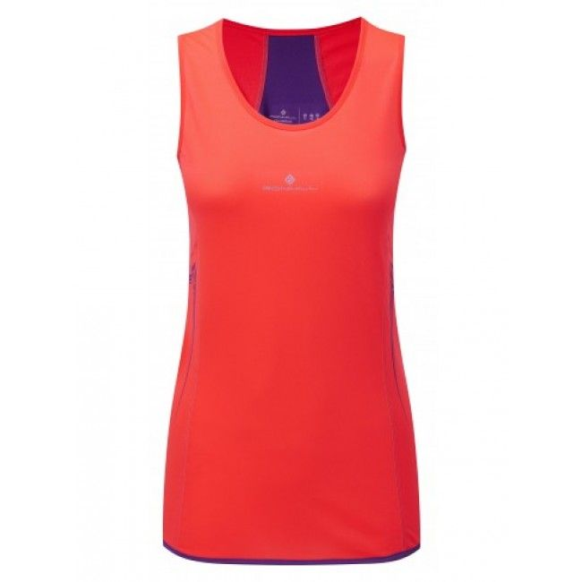 Ronhill Aspiration Running Womens Hot Coral/royal Purple Vest For warm and hot days, this is the piece to wear for maximum breathabilityand comfort  Vapourlite fabric  Very lightweight mesh, ultra breathable with inherent wicking properties