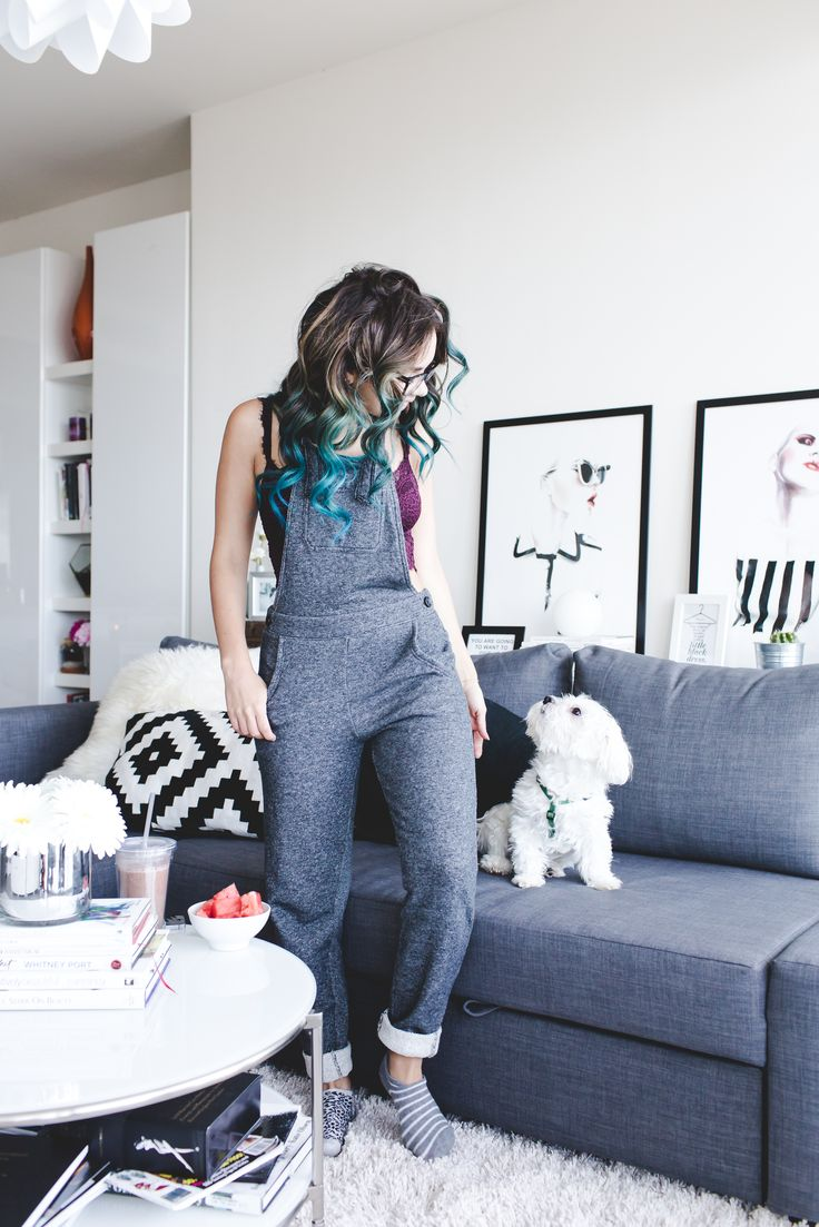 Let's be REAL, Sundays are meant for lounging and online shopping. Daniela from Nany's Klozet kicks back in our Supersoft Overalls and Romantic Lace Longline Bralette for a day of relaxation. #Aerie