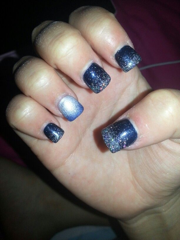 silver and blue prom nails   Ooh, them naaaails.   Pinterest