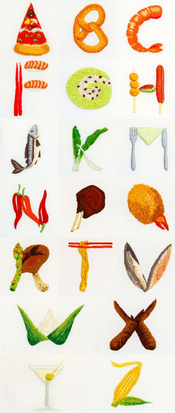 Alfabeto gastronómico. O tipografía bordada... Vía @Yorokobu
