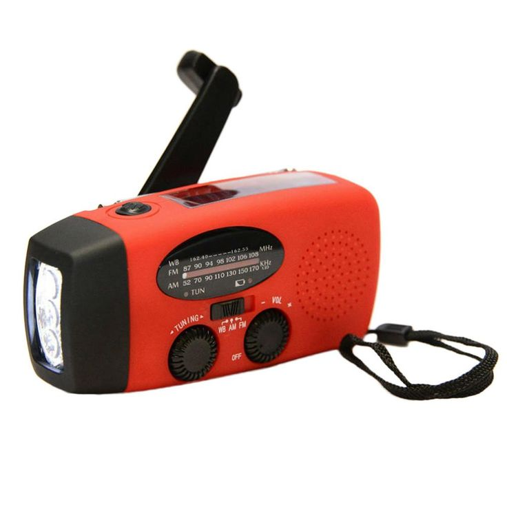 Emergency Solar Hand Crank Self Powered AM/FM/NOAA Weather Radio with LED Flashlight 1000mAh Charger for iPhone Android Smartphones (Red)