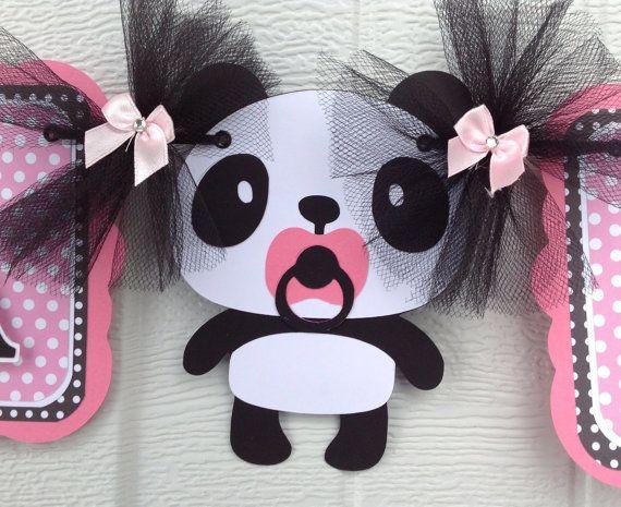 panda baby shower panda banner panda decorations pink and black