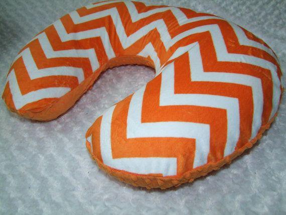 Orange Chevron Minky Nursing Pillow Cover by tarascozycreations