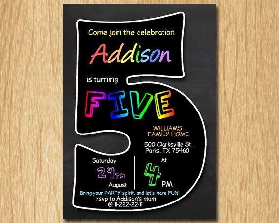 5th birthday invitation chalkboard invite by DigitalBonanza