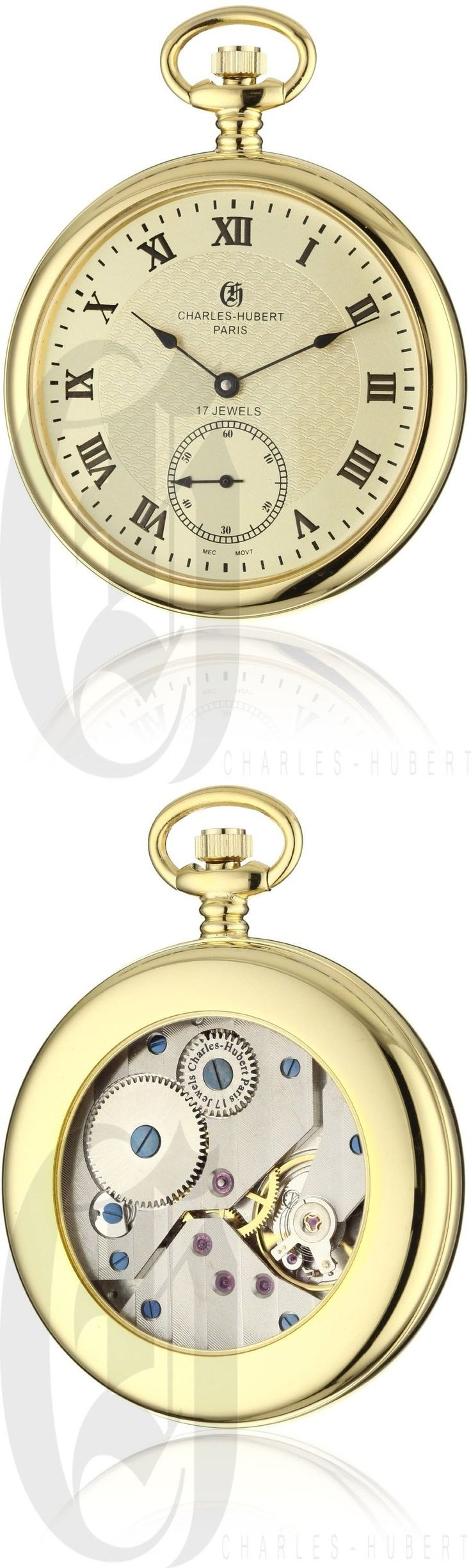 Modern 3938: Charles-Hubert Gold Stainless Steel Open Face Mechanical Pocket Watch - 3912-G BUY IT NOW ONLY: $169.0
