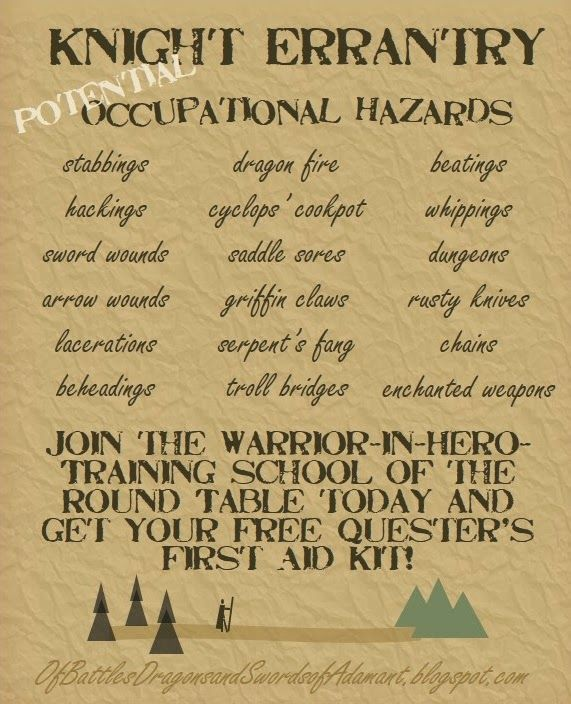 Of Battles, Dragons, and Swords of Adamant: Questology 101: Occupational Hazards and First Aid Kits